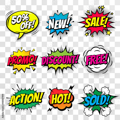 Sale discount shopping comic text bubble vector isolated icons set