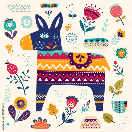 mexican-pattern-with-decorative-donkey