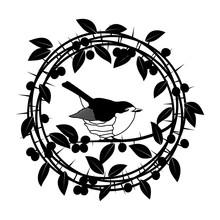 Blackthorn Berries Branches And Leaves Frame. Vector Illustrations Vintage Design