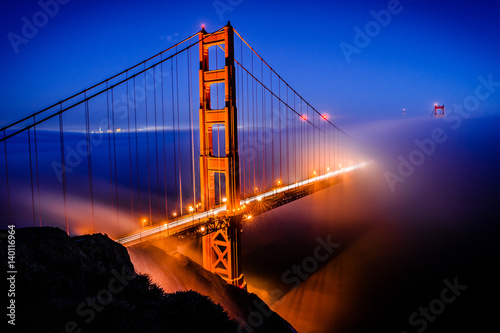 Golden Gate Bridge, San Francisco at sunrise, California