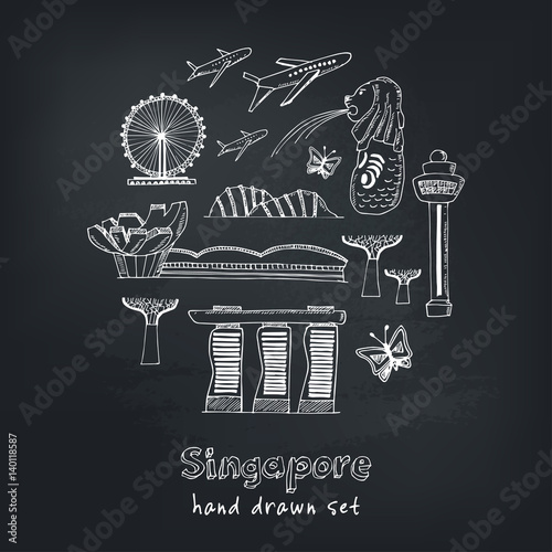 Set of Singapore hand drawn icons Vector illustration Poster