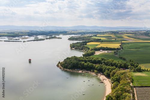 Aerial view of Nysa lake Canvas Print