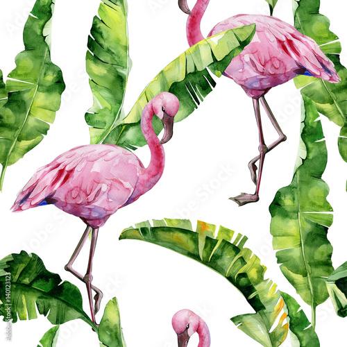 tropikalne-liscie-gesta-dzungla-liscie-palm-bananowych-bezszwowa-akwareli-ilustracja-tropikalni-rozowi-flamingow-ptaki-modny-wzor