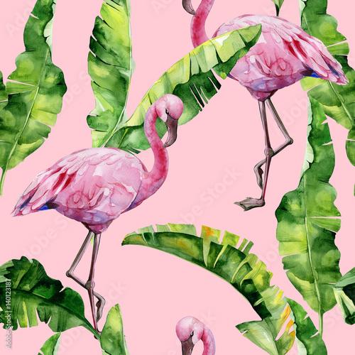 tropikalne-zielone-liscie-z-flamingami