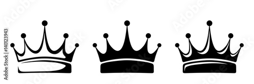 Set of three vector black silhouettes of crowns isolated on a white background Poster Mural XXL