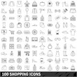 100 shopping icons set, outline style