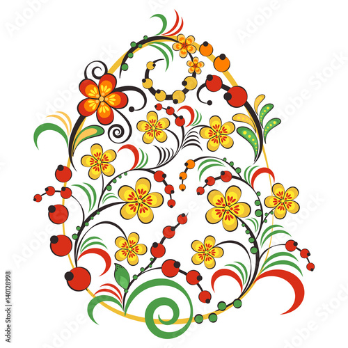 Naklejka na szybę Floral ornament with flowers and berries in shape of egg in Khokhloma style in traditional colors isolated on white background. Russian folklore. Vector illustration