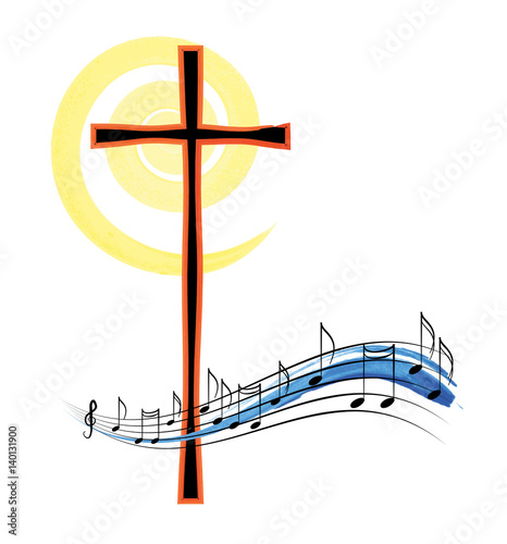 Cuadros en Lienzo Musical notes with a cross, abstract religious christian music or hymn symbol and concept