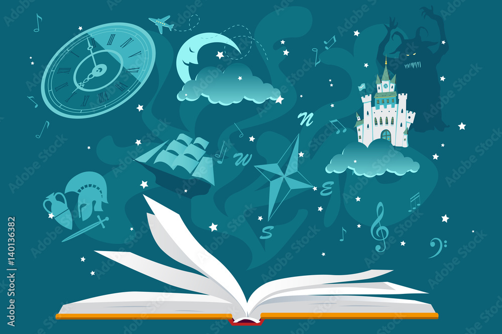 Fototapeta Open book with imaginary fantastic images hovering over it, EPS 8 vector illustration, no transparencies