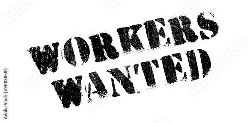 Valokuva  Workers Wanted rubber stamp