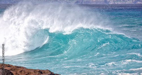 Foto auf Gartenposter Wasser Large waves from winter swells on the coast of Maui, Hawaii.