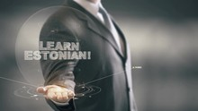 Learn Estonian Hologram Concept Businessman Holding In Hand