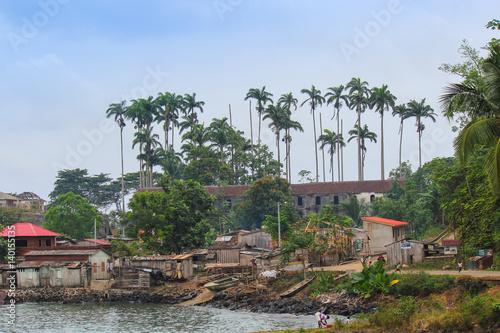 Village of Porto Alegre in island of Sao Tome and Principe - Africa Canvas Print