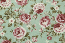 Colorful Cotton Fabric In Vintage Rose Pattern For Background Or Texture