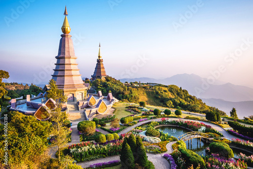 Doi Inthanon landmark twin pagodas at Inthanon mountain near Chiang Mai, Thailand.