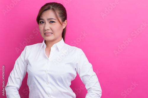 Fotografie, Tablou  Asian woman feel disgusted some thing