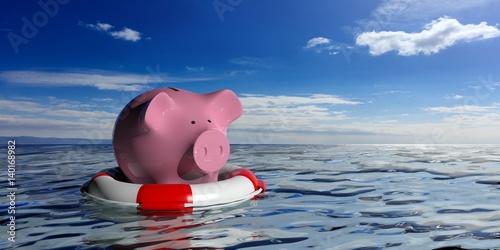 Pinturas sobre lienzo  Lifebuoy and a piggy bank on blue sea background. 3d illustration