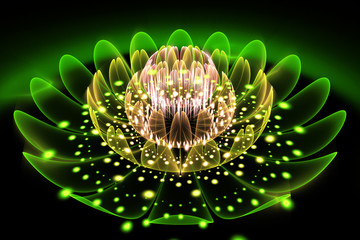Obraz na Plexi Florystyczny Abstract exotic flower with glowing sparkles on black background. Fantasy fractal design in green, yellow and beige colors. Psychedelic digital art. 3D rendering.