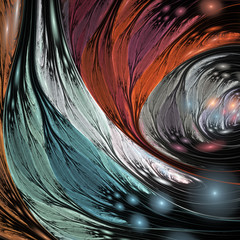 Obraz na PlexiAbstract red, blue, brown and grey shapes on black background. Fantasy fractal design. Psychedelic digital art. 3D rendering.