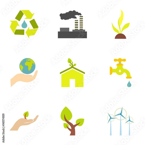 Energy icons set, flat style Wallpaper Mural