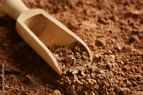 Pinturas sobre lienzo  Wooden scoop on cocoa powder background