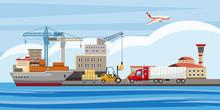 Logistic Horizontal Banner, Cartoon Style