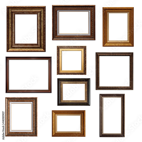 Set of picture frames. Collage of different canvas painting frames ...