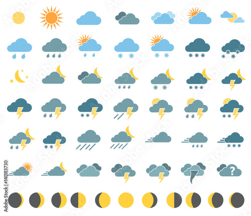 Fotomural weather icons on white background in color