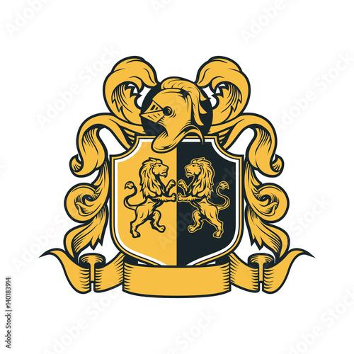 Foto  Coat Arms Vintage Knight Royal Family Crest  Heraldic Emblem Shield