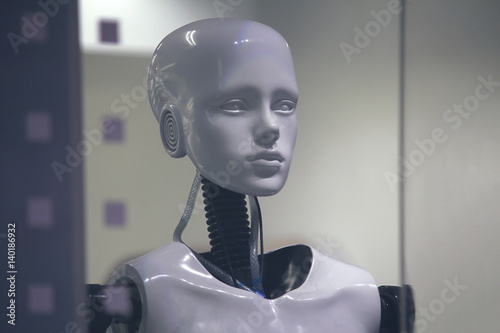 Fotografia, Obraz  Robot mannequin in a shop window closeup