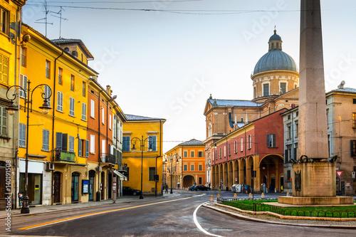 Scenic old street in Reggio Emilia, Emilia-Romagna, Italy.