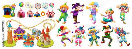 Cuadros en Lienzo Circus clowns and many rides