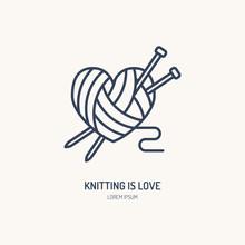 Knitting Shop Line Logo. Yarn ...