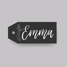 Common Female First Name Emma On A Tag. Hand Drawn Calligraphy. Wedding Typography Element.