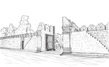 Sketch Of Old Gate Tha Phae Ga...