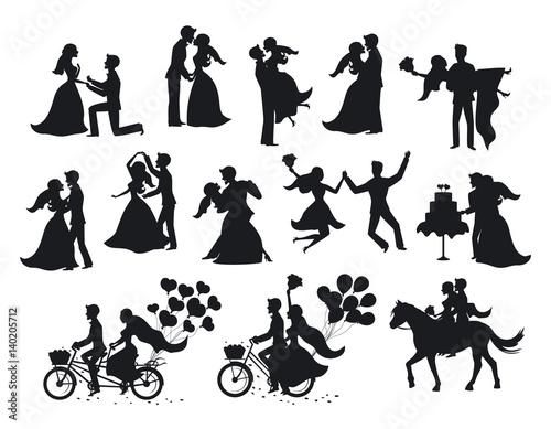 wedding couple, bride and groom silhouette set Fototapeta