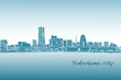 city scape skyline of Yokohama in Japan free hand drawing, vector and illustration