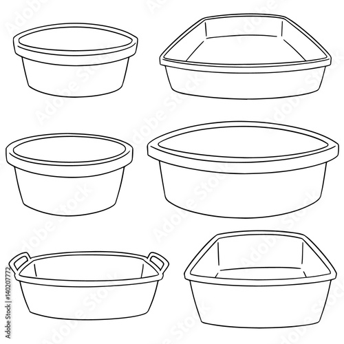 vector set of plastic basin Fototapete