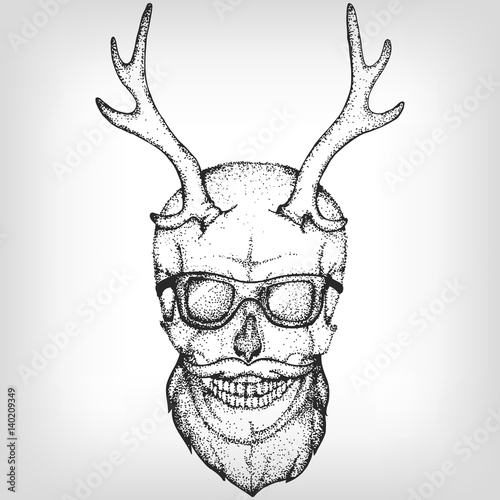 Hipster Skull With Horns Sun Glasses And A Beard Vector Illustration Print