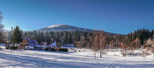 Panoramic View Of The Winter Mountain Landscape Of Szklarska Poreba