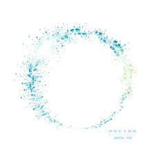Vector Sparkles Circle Frame. Blue Frame Vector Illustration Isolated On White Background.