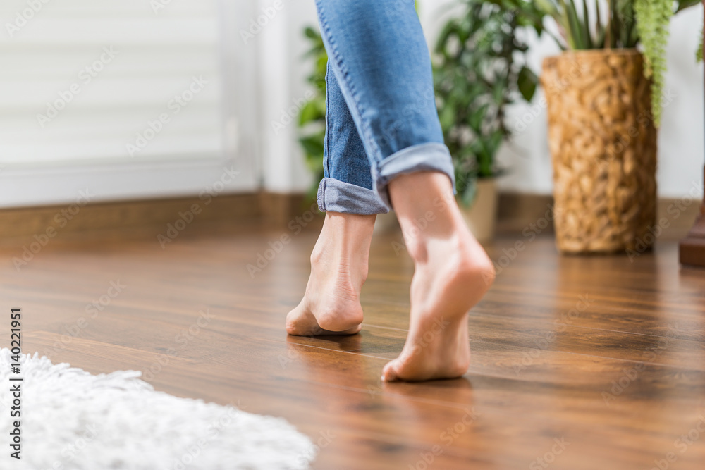 Fototapety, obrazy: Warm floor - the concept of floor heating and wooden panels.