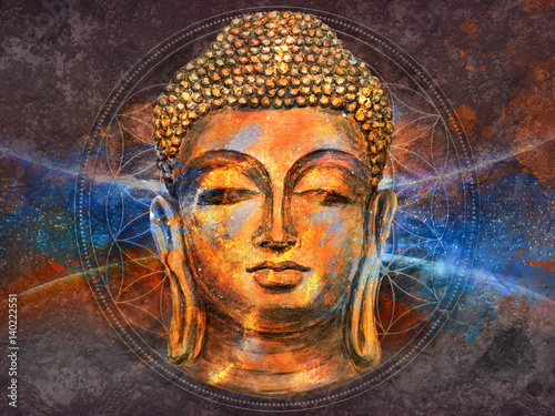 Tuinposter Boeddha head of Lord Buddha digital art collage combined with watercolor