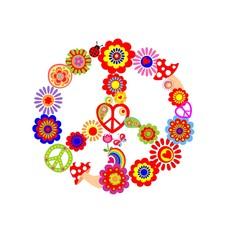 Childish print with peace flower symbol