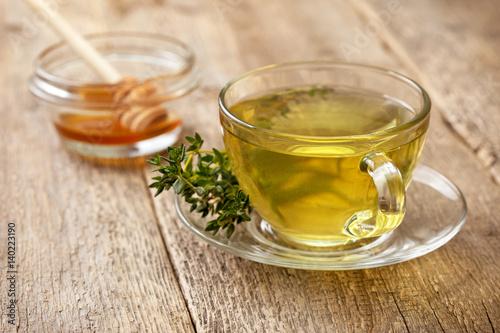 Tea thyme tea in glass cup
