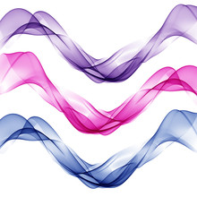 White Background With Abstract Colorful Waves