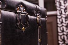Black Vintage Suitcase Leather Texture
