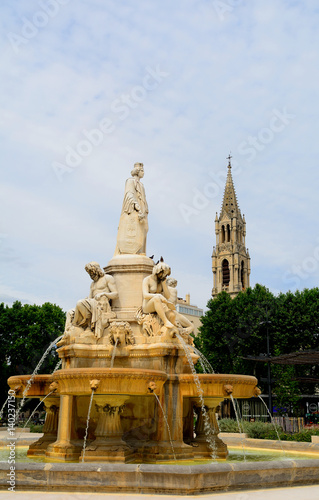 Fotobehang Fontaine Pradier Fountain, Nimes, France