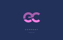 Ec E C  Pink Blue Alphabet Letter Logo Icon