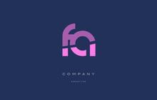 Fa F A  Pink Blue Alphabet Letter Logo Icon